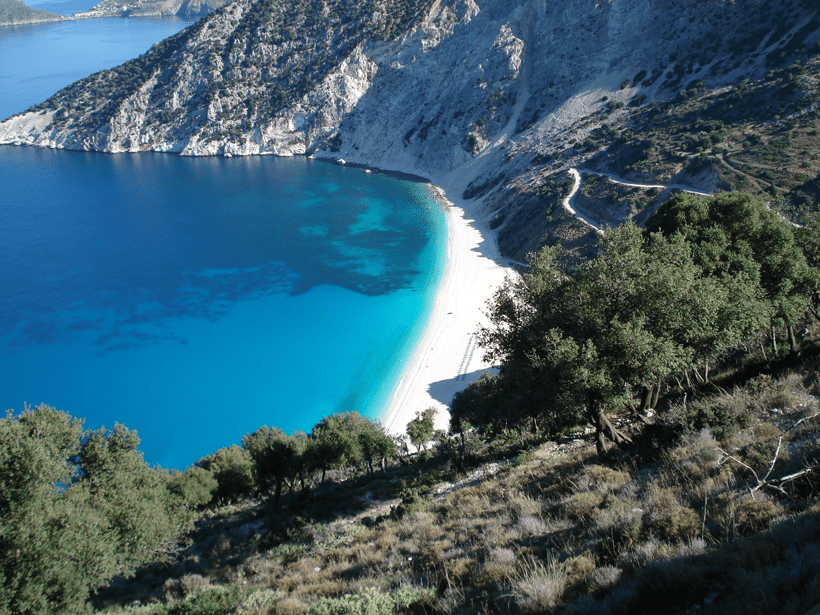 Myrtos beach view from the road on the way to Fiskado