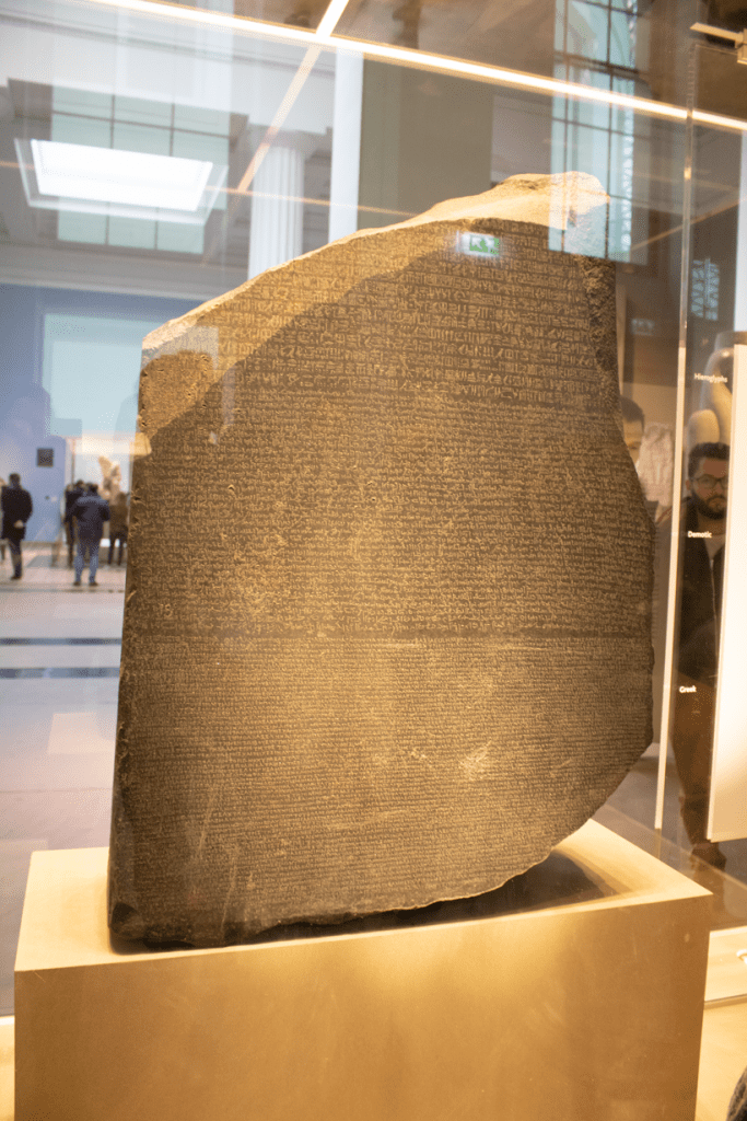 the rosetta stone at the British Museum London ideal way to introduce kids to languages and how the hieroglyphics were deciphered