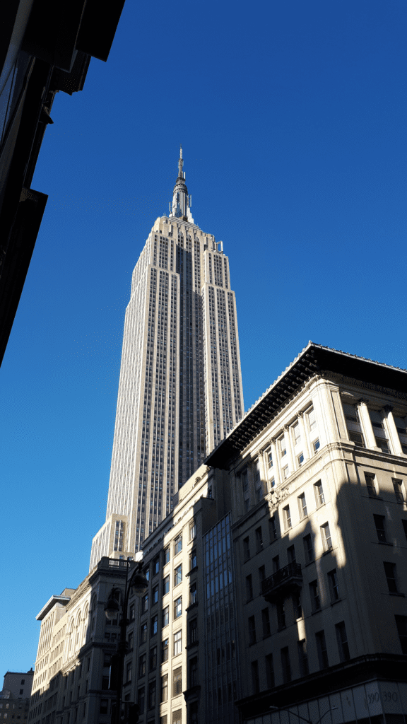 Empire state building from the street - see the sites of New York City on Foot