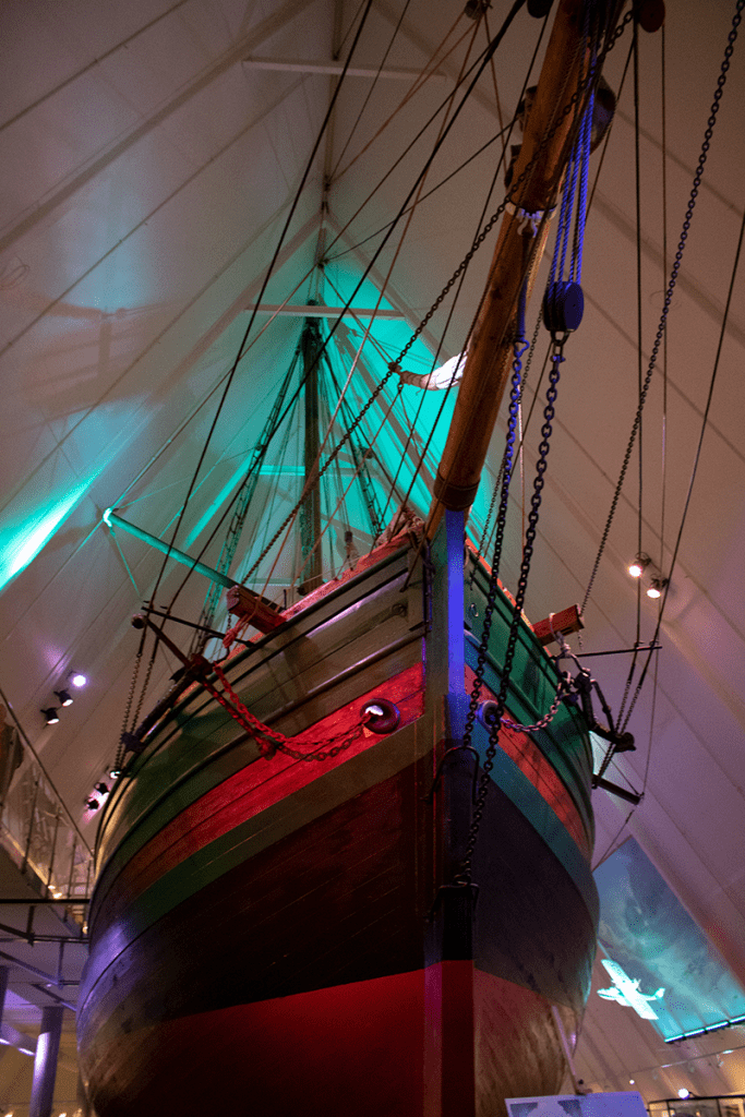 One of the boats inside the fram museum in Norway that sailed to the poles