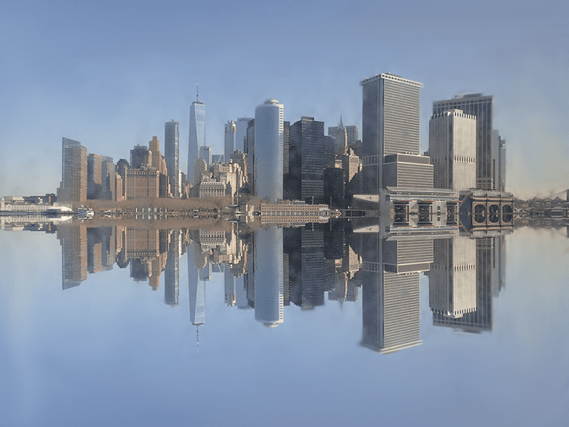 edited picture of Lower Manhattan with Reflection