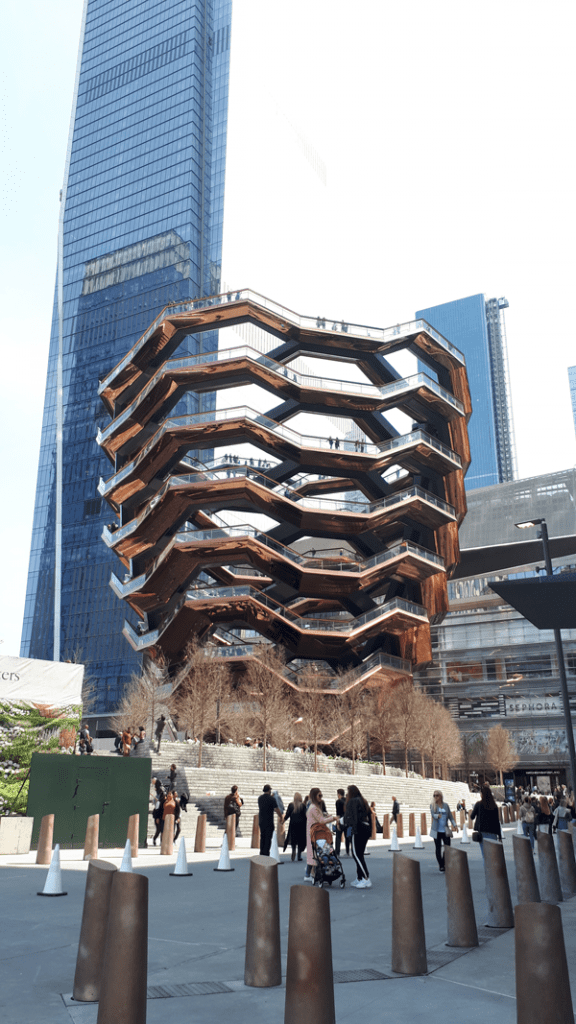 The Vessel at Hudson Yards in New York City at one end of the High Line a city park with a difference in NYC