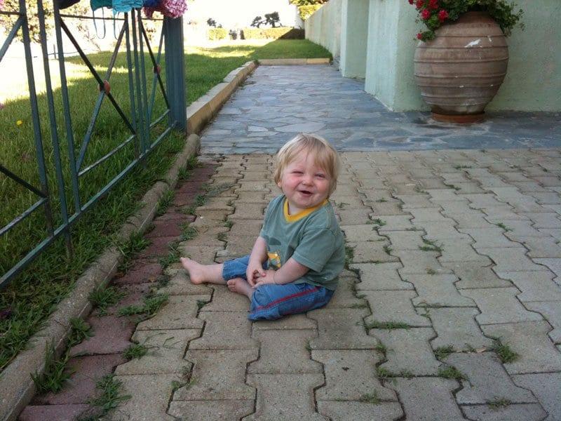toddler at Olive Garden Apartments Lassi Kefalonia