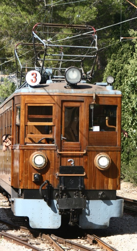 train to soller in serra de Tramuntana on the island of Mallorca a fun activity to do with kids on the island