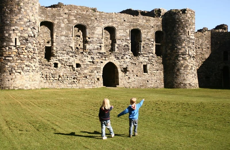 kids inside Beaumaris castle in North Wales