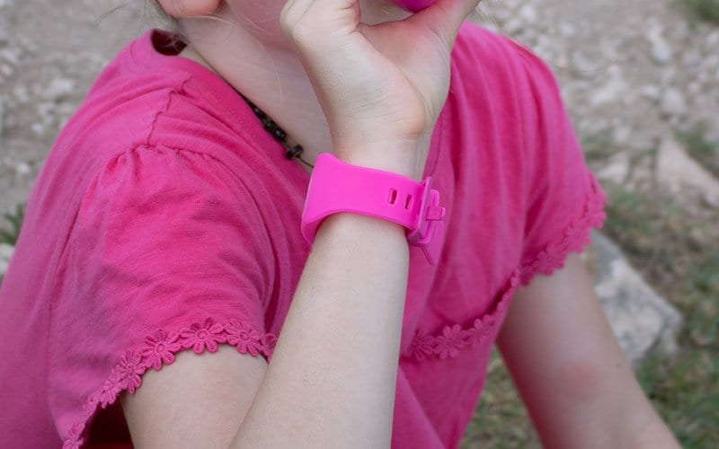 girl wearing the pink bugwatch for kids in Mexico testing how good it actually works
