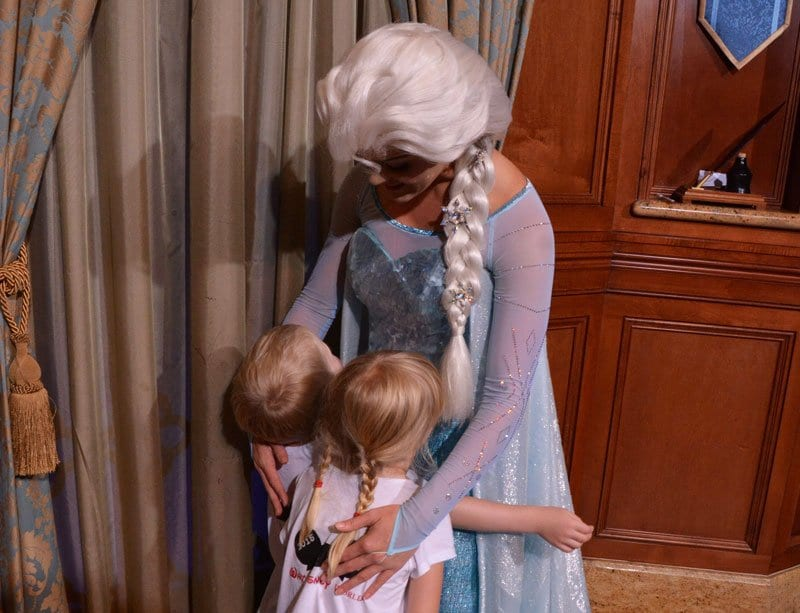 Elsa hugging the kids at Epcot Walt Disney World