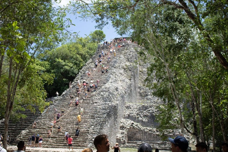 pyramid at Coba that you can climb with the rope to help you
