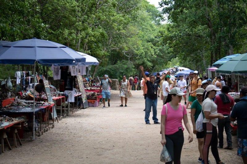 the street vendors inside Chichen Itza