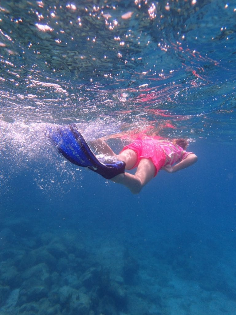 8 year old snorkelling in the BVIs
