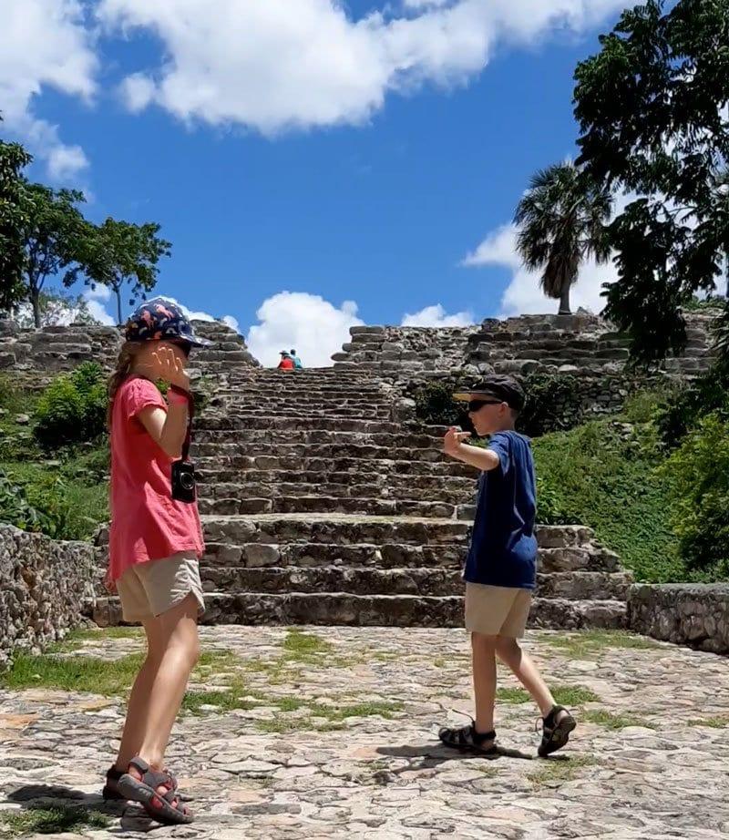 kids preparing to climb kinich kakmo at Izamal