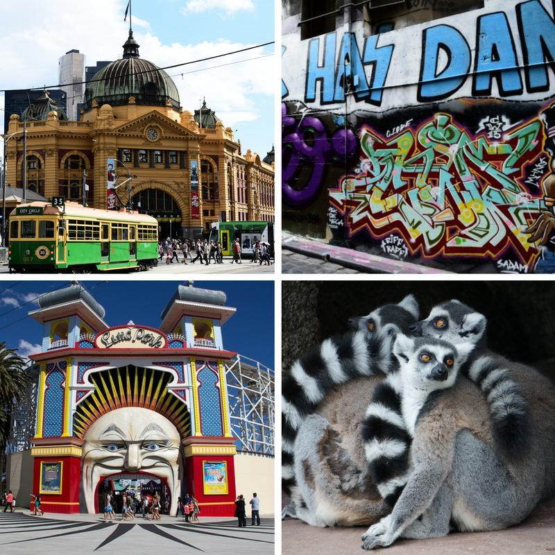 Collage of pictures from Melbourne Australia